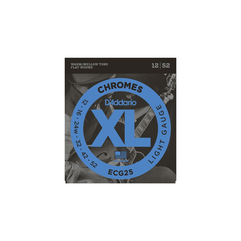 d 39 addario ecg25 flatwound chromes 12 52 light electric guitar strings
