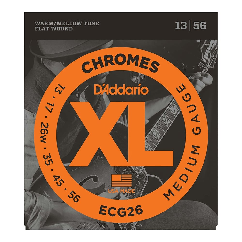 d 39 addario ecg26 flatwound chromes 13 56 medium electric guitar strings. Black Bedroom Furniture Sets. Home Design Ideas