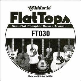 D'Addario FT030 Flat Top Semi-Flat Phosphor Bronze Acoustic Guitar Single String .030