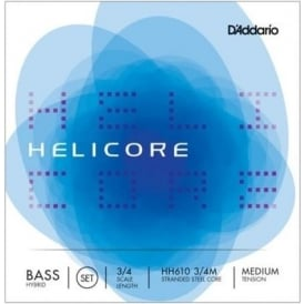 D'Addario H610 Helicore Double Bass String Set, 3/4 Scale, Medium, Orchestral