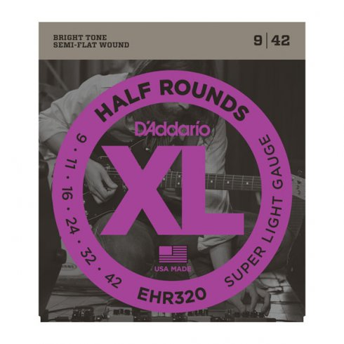 D'Addario Half Rounds EHR320 Stainless Steel Guitar Strings 9-42 Super Light