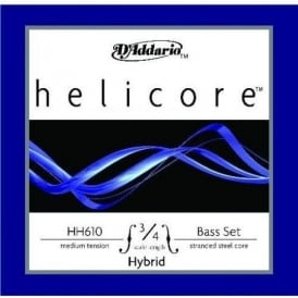 D'Addario HH610 Helicore Double Bass String Set, 3/4 Scale, Medium, Hybrid