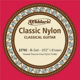 D'Addario J2702 Classic Clear Nylon Normal Tension B-2nd Single String