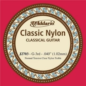 D'Addario J2703 Classic Clear Nylon Normal Tension 3rd-G Single String