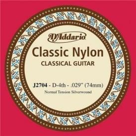 D'Addario J2704 Classic Silver Wound Nylon Normal Tension 4th-D Single String