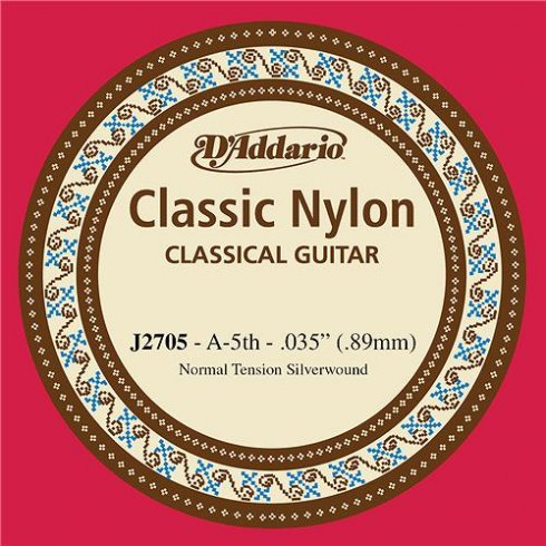 D'Addario J2705 Classic Silver Wound Nylon Normal Tension 5th A Single String