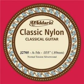 D'Addario J2705 Classic Silver Wound Nylon Normal Tension 5th A Single String