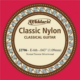 D'Addario J2706 Classic Silver Wound Nylon Normal Tension 6th E Single String