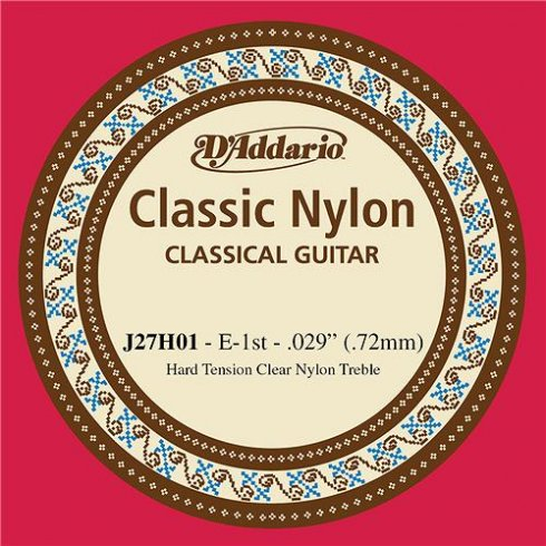 D'Addario J27H01 Classic Clear Nylon Hard Tension 1st E Single Guitar String