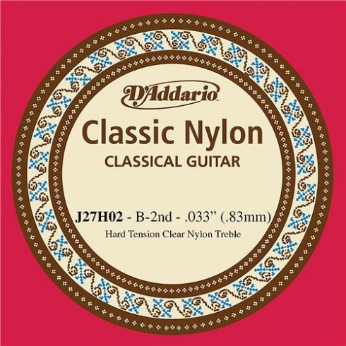 D'Addario J27H02 Classic Clear Nylon Hard Tension 2nd B Single Guitar String