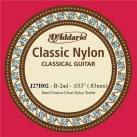 D'Addario J27H02 Classic Clear Nylon Hard Tension 2nd B Single Guitar String
