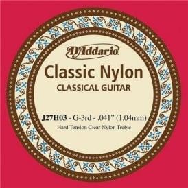 D'Addario J27H03 Classic Clear Nylon Hard Tension 3rd G Single String