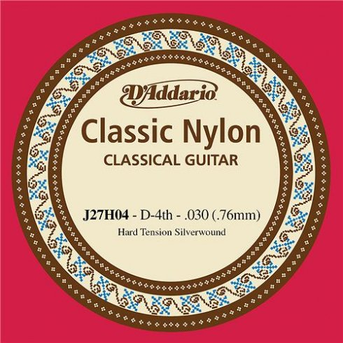 D'Addario J27H04 Classic Silver Wound Nylon Hard Tension 4th D Single String