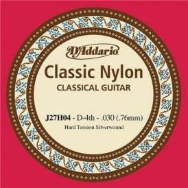 D'Addario J27H04 Classic Silver Wound Nylon Hard Tension 4th D Single String