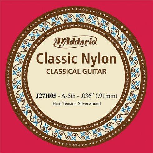 D'Addario J27H05 Classic Silver Wound Nylon Hard Tension 5th A Single String