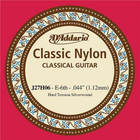 D'Addario J27H06 Classic Silver Wound Nylon Hard Tension 6th E Single String