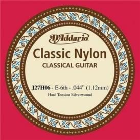 D'Addario J27H06 Classic Silver Wound Nylon Hard Tension 6th E Single String