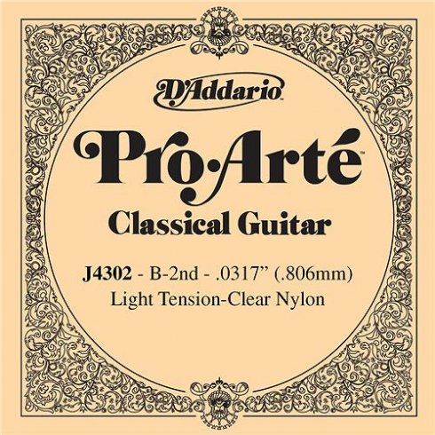 D'Addario J4302 Pro Arte Clear Nylon Light Tension Single String 2nd B-String
