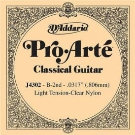 D'Addario J4302 Pro Arte Clear Nylon Light Tension Single String 2nd B-String