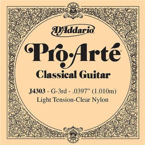 D'Addario J4303 Pro Arte Clear Nylon Light Tension Single String 3rd G-String