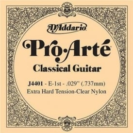D'Addario J4401 Pro Arte Clear Nylon Extra Hard Tension Single String 1st E-String