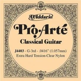 D'Addario J4403 Pro Arte Clear Nylon Extra Hard Tension Single String 3rd G-String