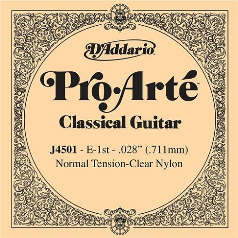 D'Addario J4501 Pro Arte Clear Nylon Normal Tension Single String 1st E-String