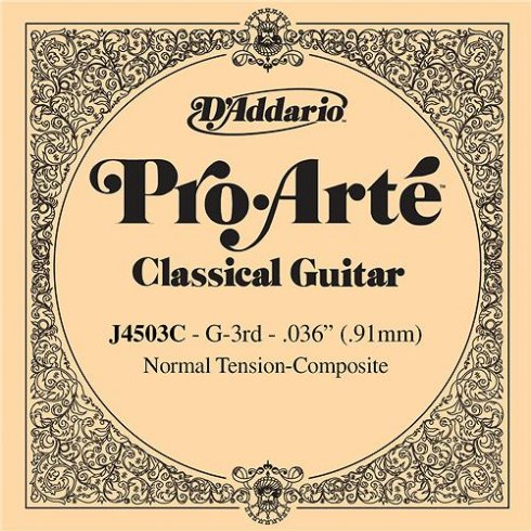 D'Addario J4503C Pro Arte Composite Nylon Normal Tension Single String 3rd G-String
