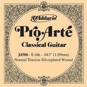 D'Addario J4506 Pro Arte Silverplated Wound on Nylon Normal Tension Single String 6th E-String