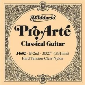 D'Addario J4602 Pro Arte Clear Nylon Hard Tension Single String 2nd B-String