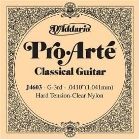 D'Addario J4603 Pro Arte Clear Nylon Hard Tension Single String 3rd G-String