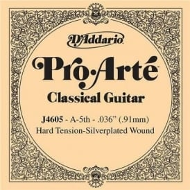 D'Addario J4605 Pro Arte Silverplated Wound on Nylon Hard Tension Single String 5th A-String
