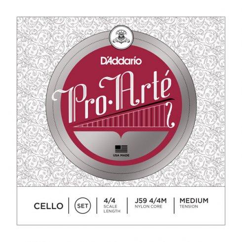 D'Addario J59 Pro Arte Cello Medium Tension Medium Scale Full Set of Strings