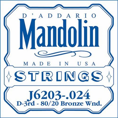 D'Addario J6203 80/20 Bronze Mandolin Loopend Single String .024 3rd