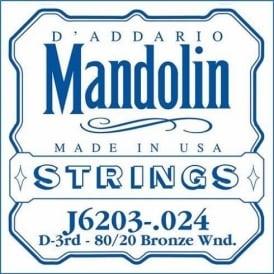 D'Addario J6203 80/20 Bronze Mandolin Loopend Single String .024 3rd