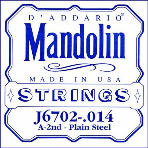 D'Addario J6702 Plain Steel Mandolin Loopend Single String .014 2nd