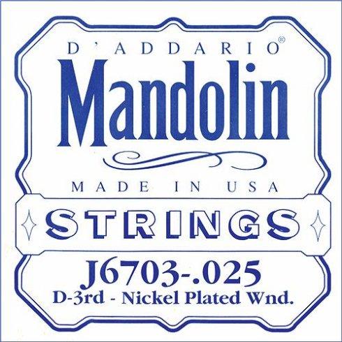 D'Addario J6703 Nickel Wound Mandolin Loopend Single String .025 3rd