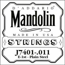 D'Addario J7401 Plain Steel Mandolin Loopend Single String .011 1st