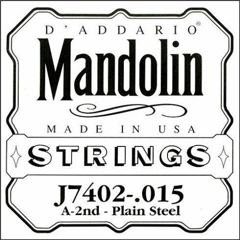 D'Addario J7402 Plain Steel Mandolin Loopend Single String .015 2nd