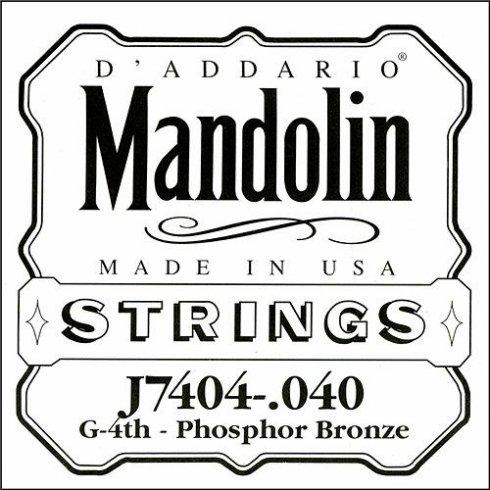 D'Addario J7404 Phosphor Bronze Mandolin Loopend Single String .040 4th