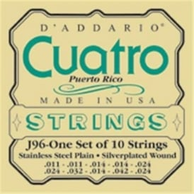 D'Addario J96 Cuatro Puerto Rico Silver Wound on Silk Medium Ball End Strings