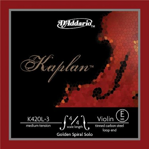 D'Addario DAddario Kaplan Golden Spiral Solo Violin Strings (E-tinned high carbon steel)--Type: Medium Loop-End