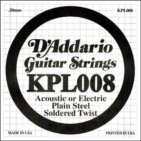 D'Addario KPL008 Soldered Twist Plain Steel Single String .008