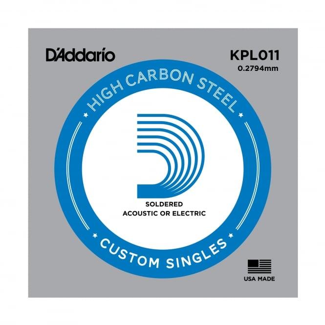 D'Addario KPL011 Soldered Twist Plain Steel Single Guitar String .011 Gauge