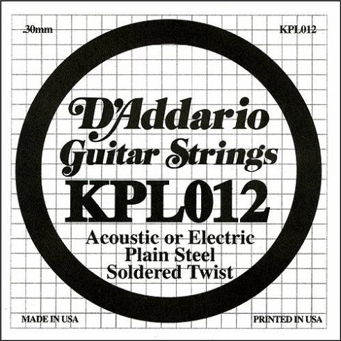 D'Addario KPL012 Soldered Twist Plain Steel Single String .012