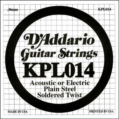 D'Addario KPL014 Soldered Twist Plain Steel Single String .014