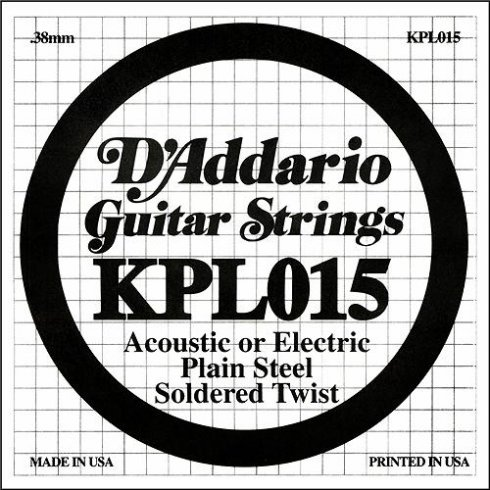 D'Addario KPL015 Soldered Twist Plain Steel Single String .015