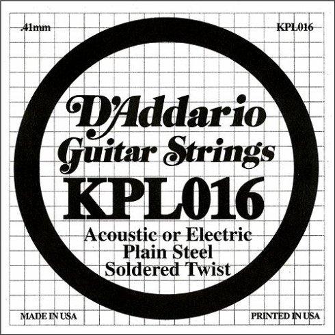 D'Addario KPL016 Soldered Twist Plain Steel Single String .016