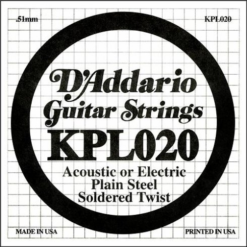 D'Addario KPL020 Soldered Twist Plain Steel Single String .020