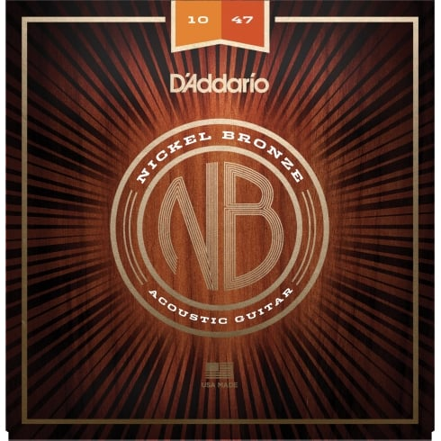 D'Addario NB1047 Nickel Bronze Acoustic Guitar Strings, Extra Light, 10-47 Gauge
